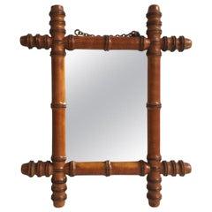 Small French Faux Bamboo Mirror, circa 1900