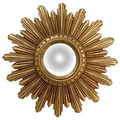 Small French Gilt Starburst or Sunburst Convex Mirror (Diameter 9)