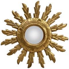Small French Gilt Starburst or Sunburst Convex Mirror (Diameter 9 1/2)