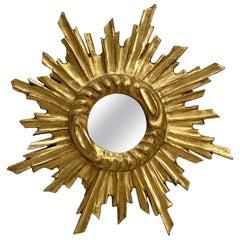 Small French Gilt Starburst or Sunburst Mirror (Diameter 11)