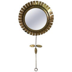 Small French Gold Metal Flower Mirror, circa 1960