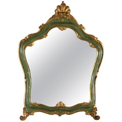 Small French Green and Gilded Crown Top Mirror