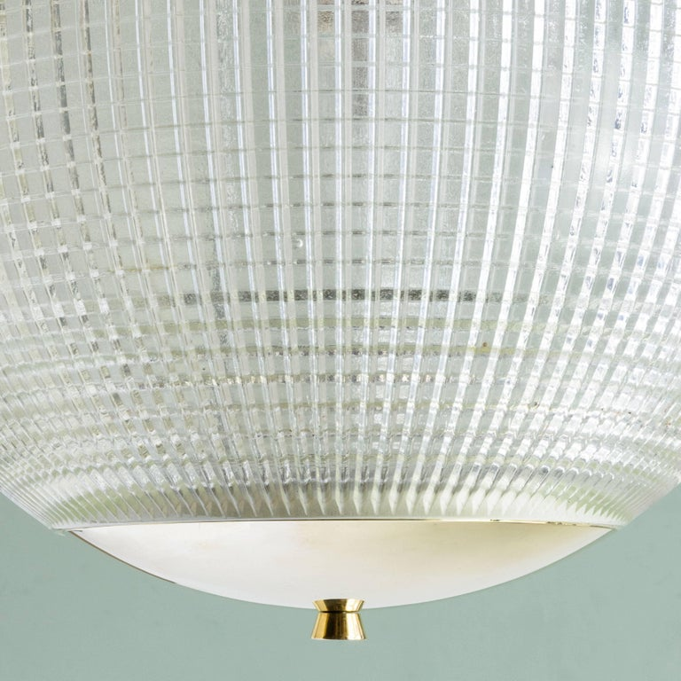 Small French Holophane Globe Pendant Light with Brass Caps In Good Condition For Sale In London, GB