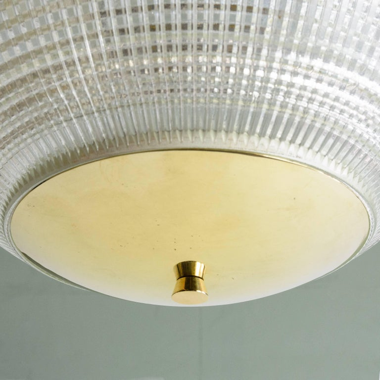Late 20th Century Small French Holophane Globe Pendant Light with Brass Caps For Sale