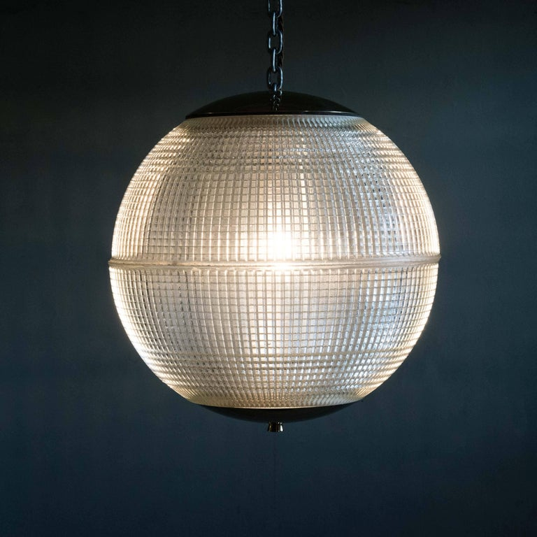 Small French Holophane Globe Pendant Light with Brass Caps For Sale 1