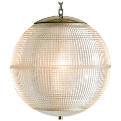 Small French Holophane Globe Pendant Light with Brass Caps