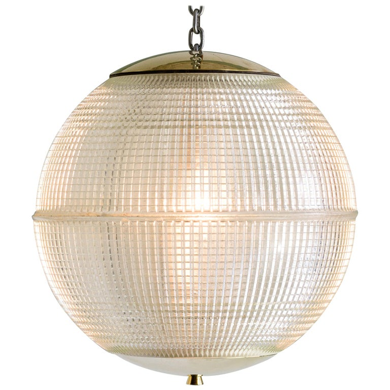Small French Holophane Globe Pendant Light with Brass Caps For Sale
