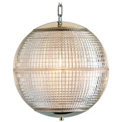 Small French Holophane Globe Pendant Lights