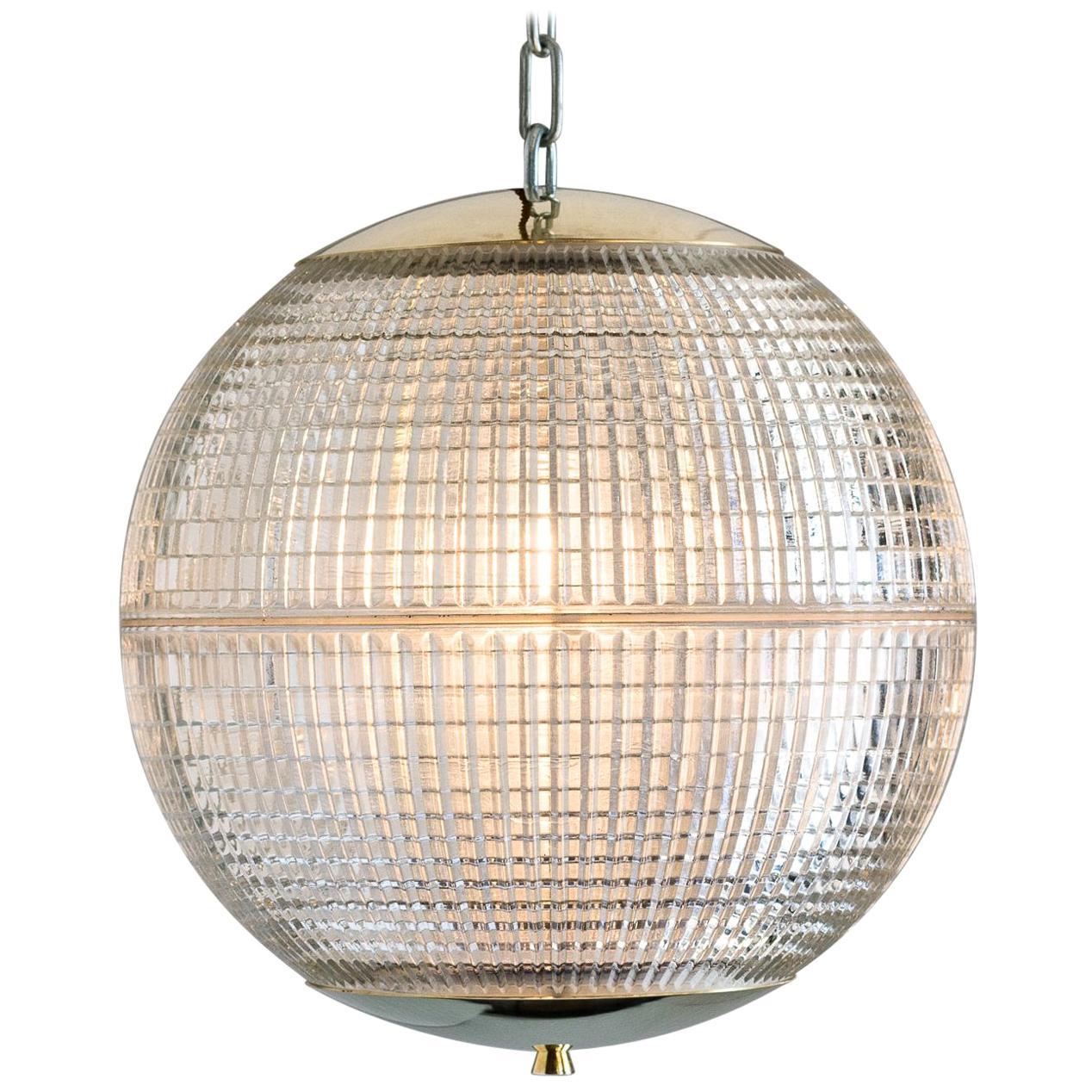 Small French Holophane Globe Pendant Lights