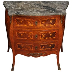 Small French Inlaid Marquetry Bombe Chest with Fossil Limestone Top