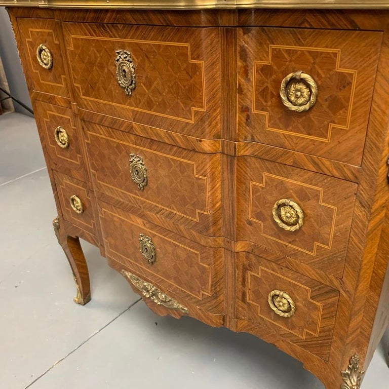 Small French Kingwood and Geometric Parquetry Commode with Brass Mounts For Sale 5