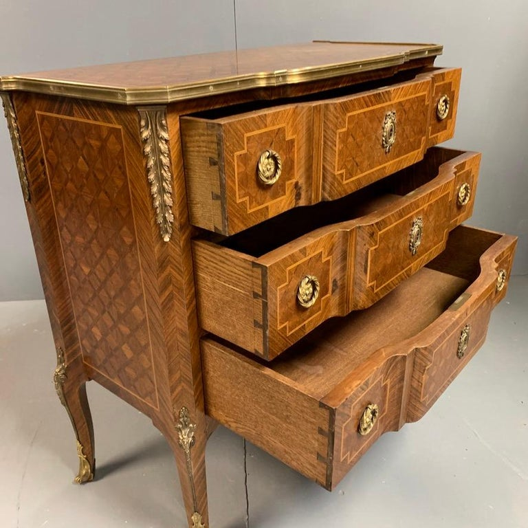 Small French Kingwood and Geometric Parquetry Commode with Brass Mounts For Sale 6