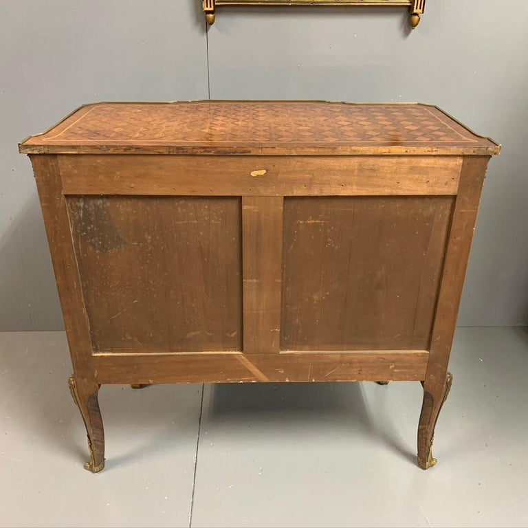Small French Kingwood and Geometric Parquetry Commode with Brass Mounts For Sale 7