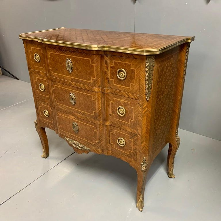 Louis XV Small French Kingwood and Geometric Parquetry Commode with Brass Mounts For Sale