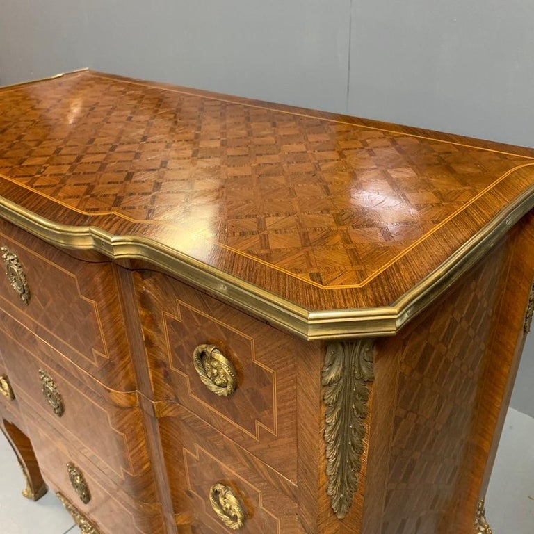 Small French Kingwood and Geometric Parquetry Commode with Brass Mounts For Sale 1