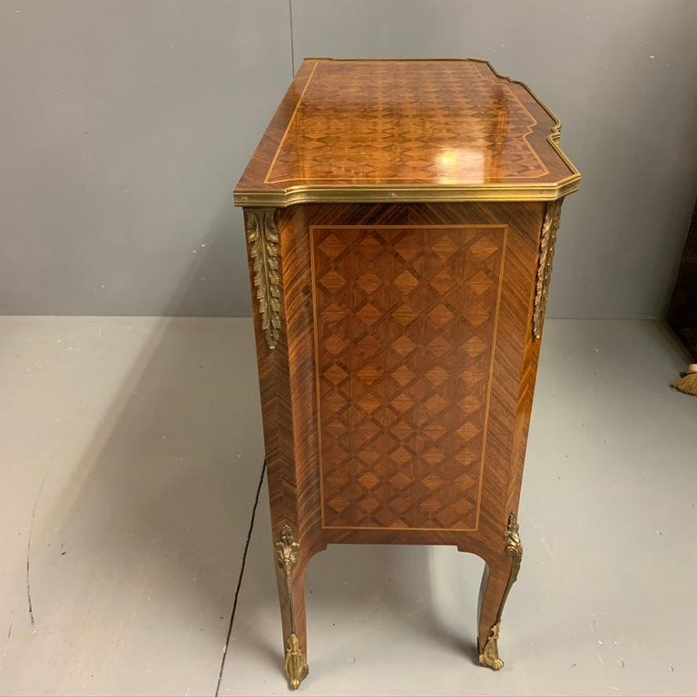 Small French Kingwood and Geometric Parquetry Commode with Brass Mounts For Sale 3