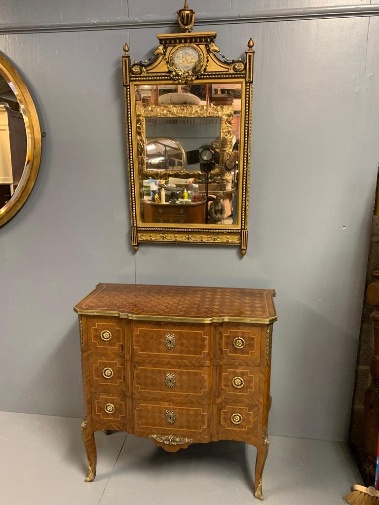 Small French Kingwood and Geometric Parquetry Commode with Brass Mounts For Sale 4