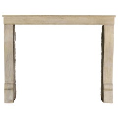 Small French Limestone Antique Fireplace Surround for Eclectic Chic Interior