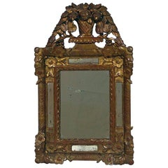 Small French Louis XV Baroque Style Giltwood Mirror