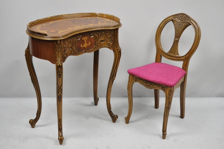 French Louis Xv Inlaid Kidney Bean Petite Desk Vanity