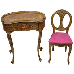 French Louis XV Inlaid Kidney Bean Petite Desk Vanity Gossip Table with Chair