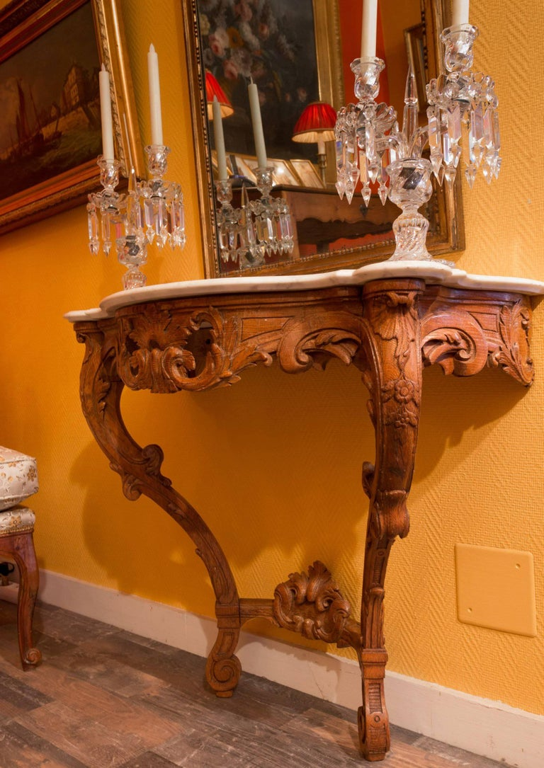 Hand-Carved Small French Louis XV Style Console Table, circa 1850 For Sale