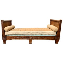 Small French Louis XVI Daybed Settee In Carved Mahogany