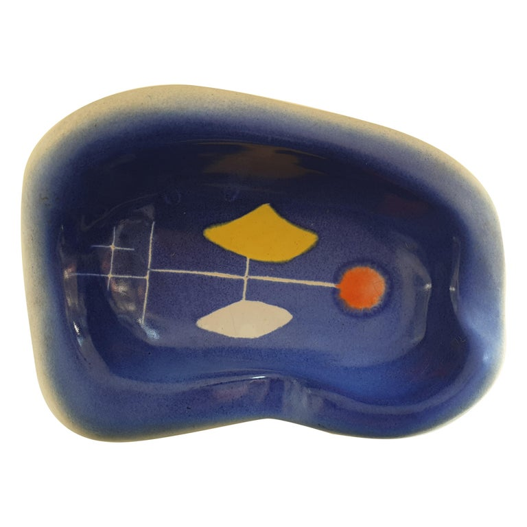 Small French Mid-Century Modern Glazed Ceramic Dish by Cerennes, Vallauris For Sale