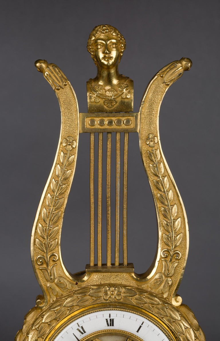 Louis Philippe Small French Ormolu Lyre Mantel Clock For Sale