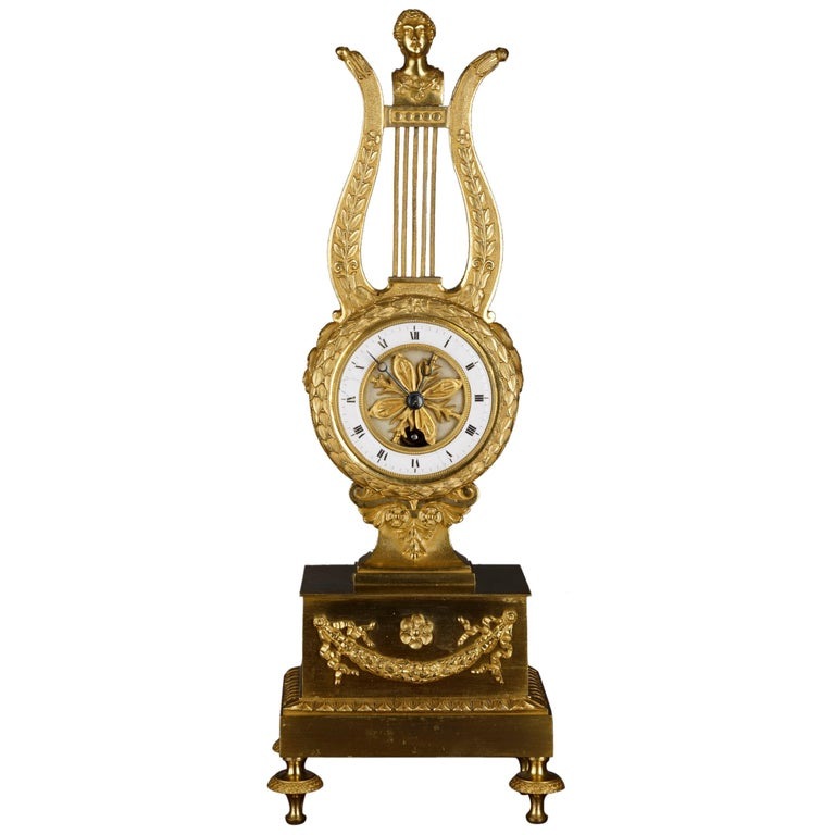 Small French Ormolu Lyre Mantel Clock For Sale