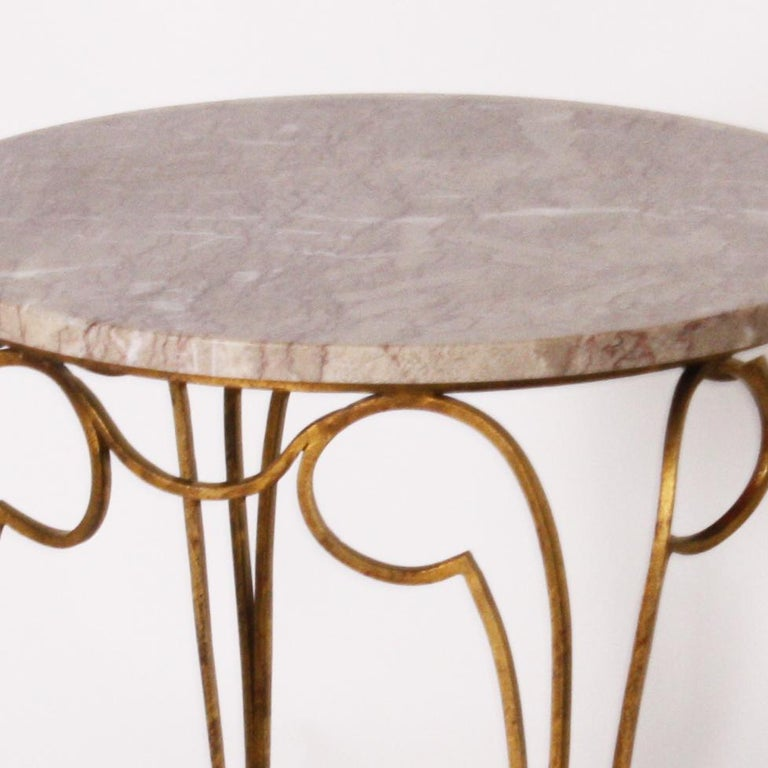 Small French Round Table with Marble Top and Gilded Metal Legs, circa 1950 In Good Condition In Dallas, TX