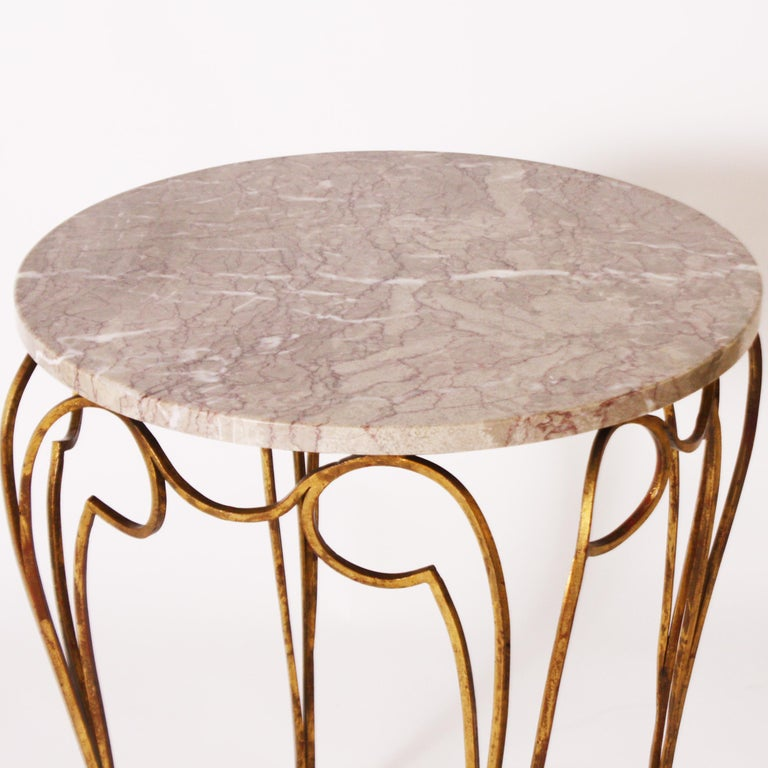 Mid-20th Century Small French Round Table with Marble Top and Gilded Metal Legs, circa 1950