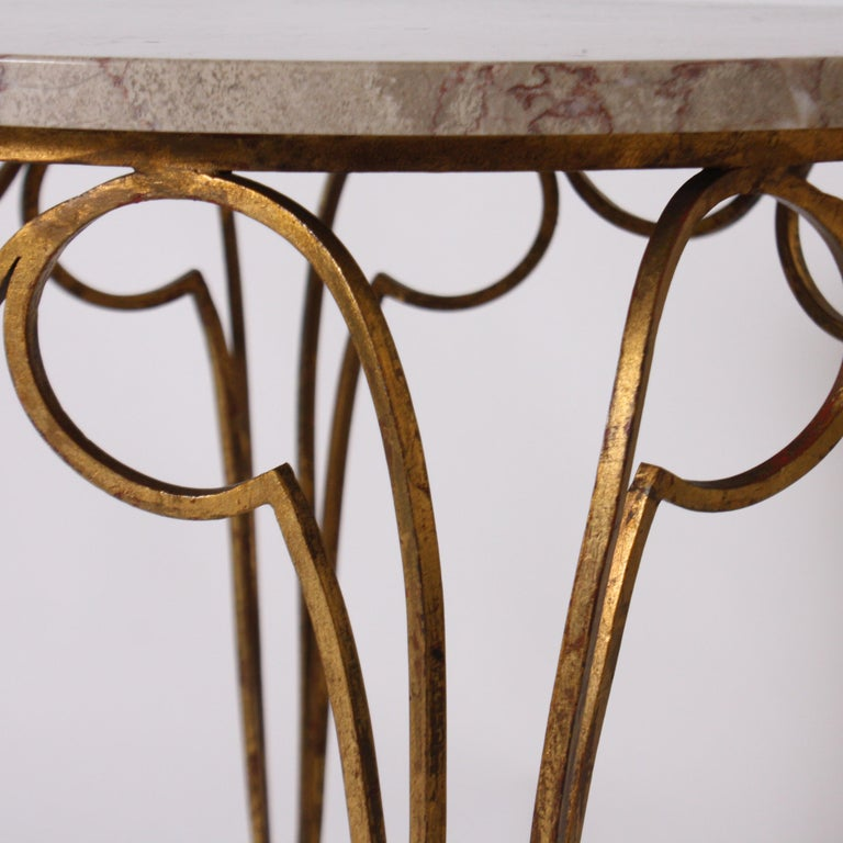 Small French Round Table with Marble Top and Gilded Metal Legs, circa 1950 2