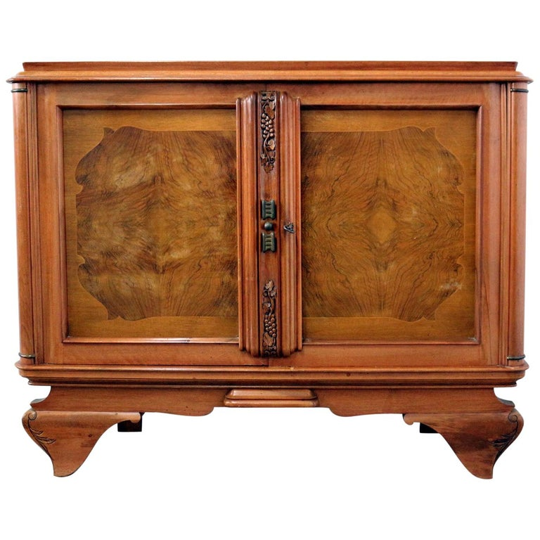 Small French Sideboard Credenza Buffet Walnut Midcentury For Sale