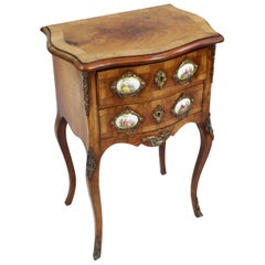 Small French Walnut Serpentine Commode with Sevres Plaques, circa 1880