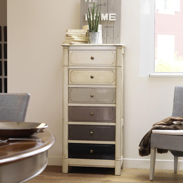 Hand-Crafted Small French White Lacquered Semainier, 6 Drawers Each with Customizable Colors For Sale