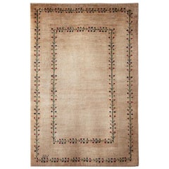 Small Neutral Contemporary Tree-of-Life Gabbeh Persian Wool Rug
