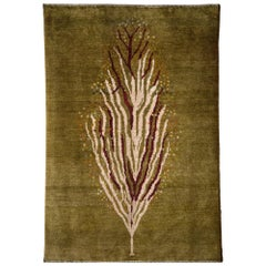 Small Olive Green Contemporary Tree-of-Life Gabbeh Persian Wool Rug