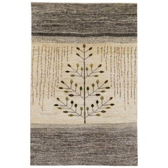 Small Contemporary Gabbeh Persian Wool Tree-of-Life Rug