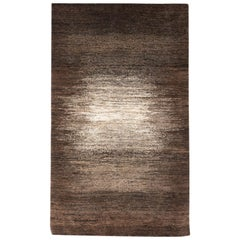 Small Espresso Brown and Cream Contemporary Gabbeh Persian Wool Rug