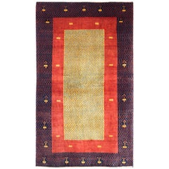 Small Red and Gold Contemporary Gabbeh Persian Wool Rug