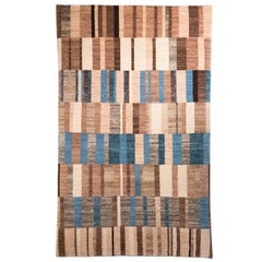 Small Blue and Brown Contemporary Gabbeh Persian Wool Rug