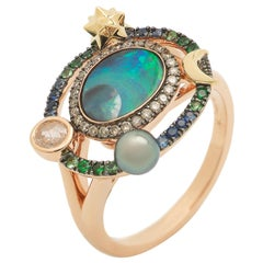 18K Rose and Yellow Gold Opal Brown Diamond Sapphire Pearl Small Galaxy Ring