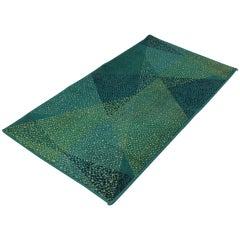Small Geometric Green Carpet or Rug, 1970s