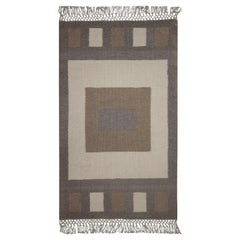 Small Geometric Rug Handmade Grey Beige Carpet Rug Modern Wool Door Mat