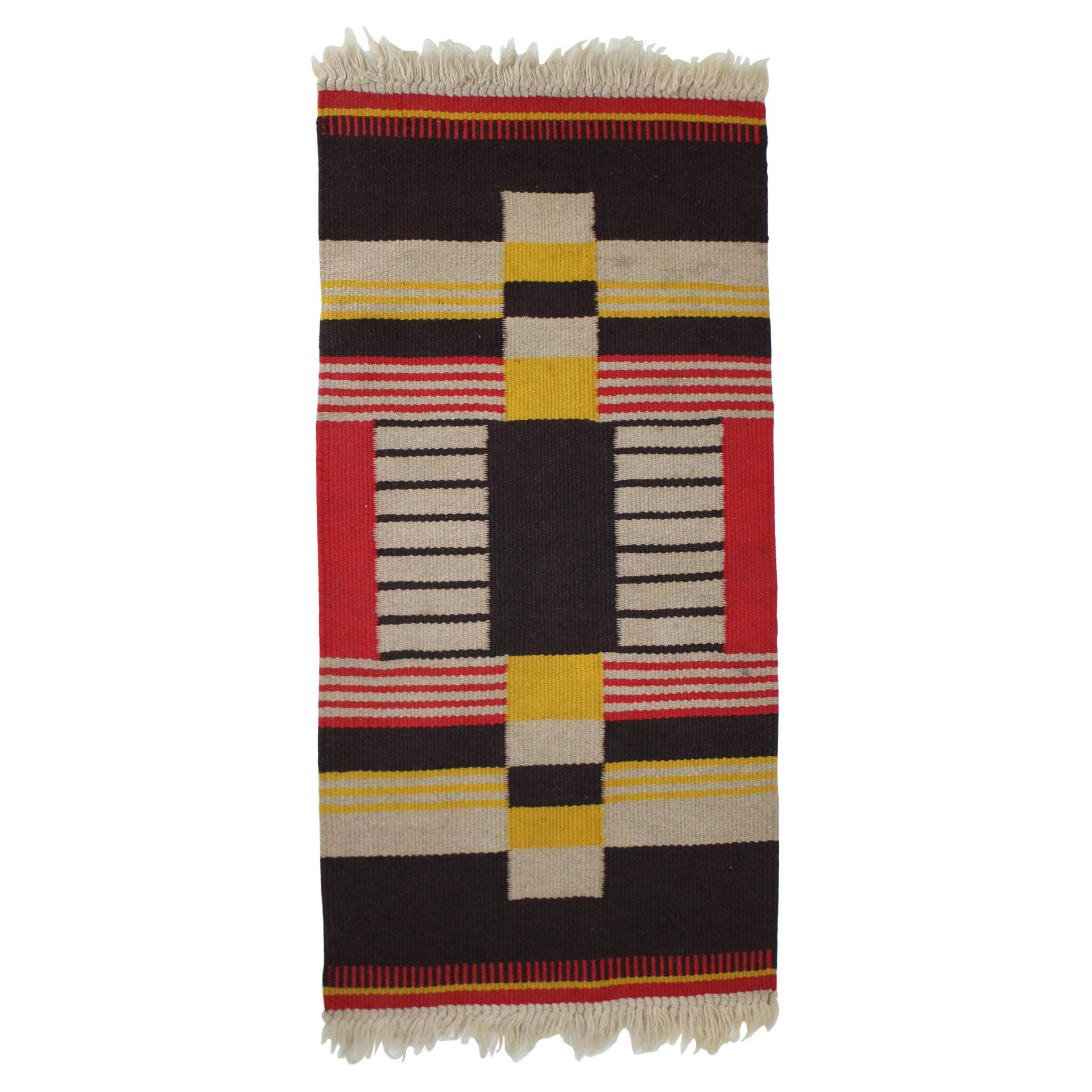 Small Geometric Wool Kilim Carpet Designed by Antonin Kybal, 1940s