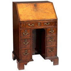 Small George III 18th Century Period Kneehole Mahogany Bureau