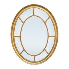 Small George III Giltwood Oval Mirror, circa 1830