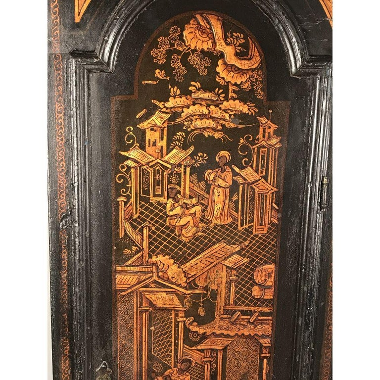 Small Georgian Green Japanned Lacquer Chinoiserie Longcase Clock, 18th Century For Sale 5