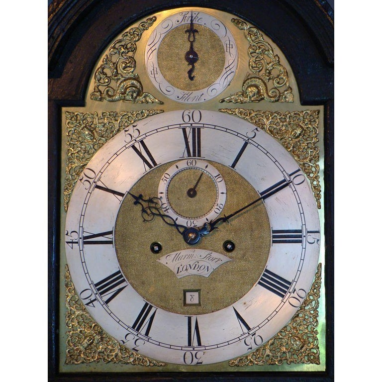 Small Georgian Green Japanned Lacquer Chinoiserie Longcase Clock, 18th Century For Sale 1